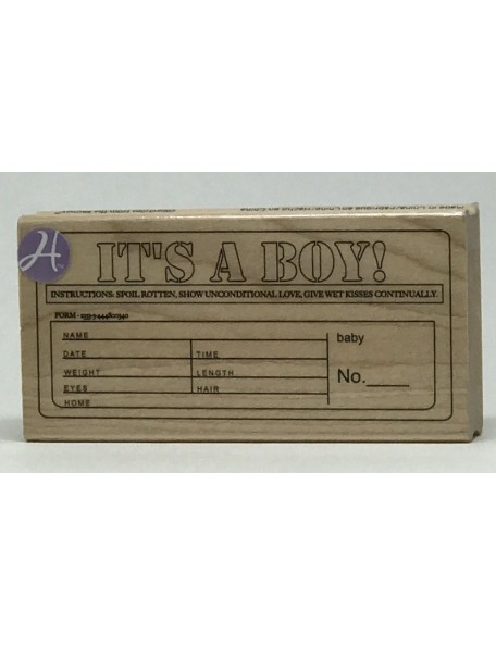 "7gypsies - It's A Boy - Sello de Madera 4""X2"""
