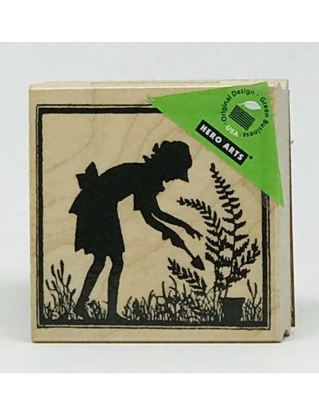 """Hero Arts Let's Garden Silhouette Sello de Madera 2.5""""X2.5"""""""