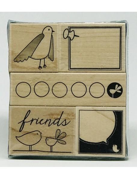 Hero Arts Friendly Birds Sello/Stamps