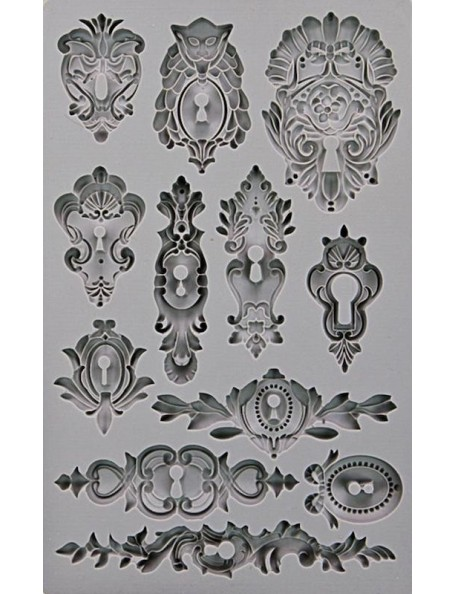 "prima marketing Iron Orchid Designs Vintage Art Decor moldes/Mould 5""X8"", cerraduras/Keyholes"