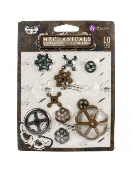 prima marketing Finnabair adornos de metal mecanismo/Mechanicals Metal Embellishments, Rusty Knobs 10 pzas