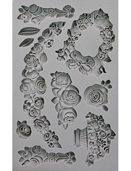 "prima marketing Iron Orchid Designs Vintage Art Decor molde/Mould 5""X8"", Fleur"