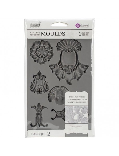 "prima marketing Iron Orchid Designs Vintage Art Decor molde/Mould 5""X8"", Baroque diseño 2"
