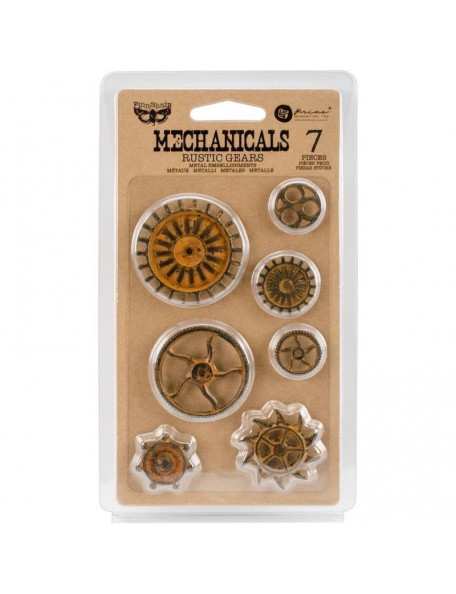 Prima Marketing Finnabair Mechanicals Metal Rustic Gears 7 pzas