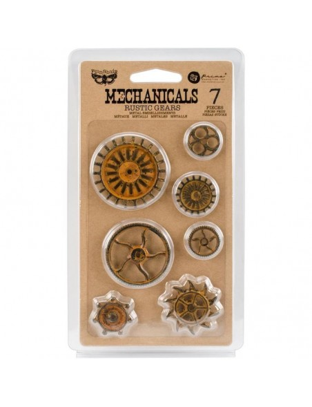prima marketing Finnabair Mechanicals embellecedores metalicos/Metal Rustic Gears 7 pzas