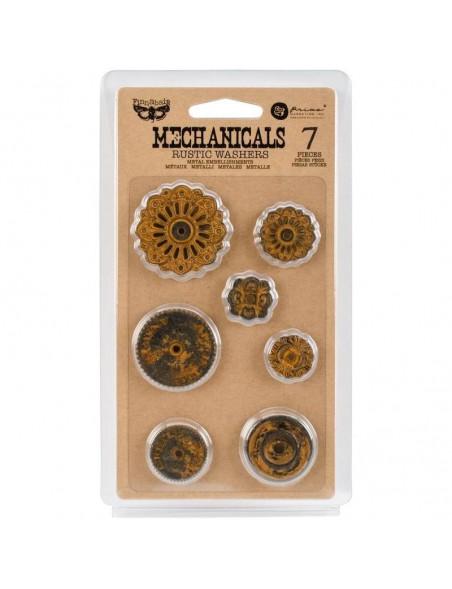 prima marketing Finnabair embellecedores metalicos/Mechanicals Metal Embellishments, Rustic Washers 7