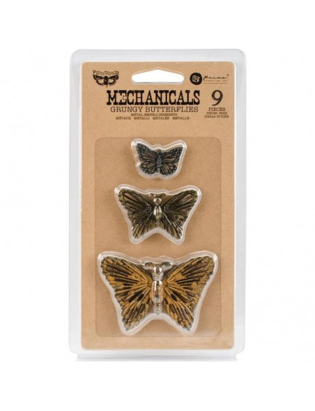 prima marketing Finnabair adornos metalicos/Mechanicals Metal, Grungy Butterflies 9 pzas