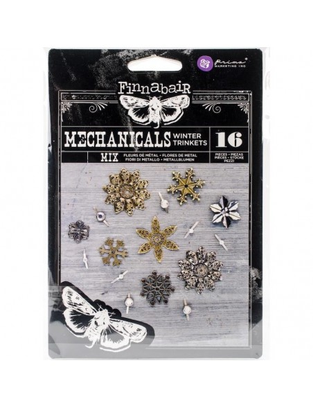 prima marketing Finnabair Mechanicals adornos metalicos/ Metal Embellishments, Winter Trinkets