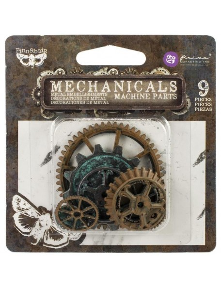 prima marketing Finnabair Mechanicals adornos metalicos/Metal Embellishments, Machine Parts 9 pzas