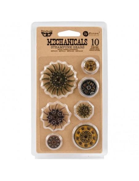 prima marketing Finnabair Mechanicals Metal Embellishments, Steampunk Gears 10 pzas