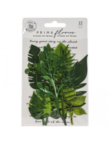 Prima Marketing hojas de tela/Fabric Leaves 12 pzas, Evergreen