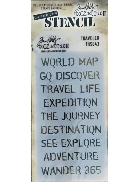 "Tim Holtz Layered Stencil 4.125""X8.5"", viajeros/Travelers"