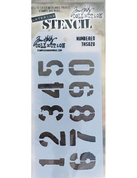 """Tim Holtz plantilla/Layered Stencil 4.125""""X8.5"""", numeros/Numbered ths020"""