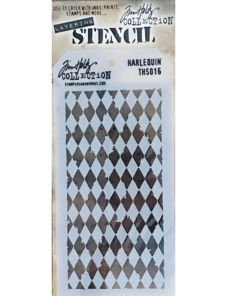 """Tim Holtz plantilla/Layered Stencil 4.125"""", harlequin ths016"""