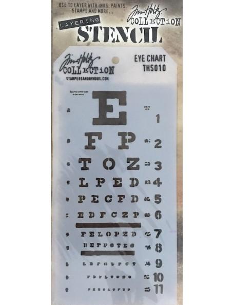 """Tim Holtz plantilla/Layered Stencil 4.125"""", Tabla de Vision ocular/Eye Chart ths010"""