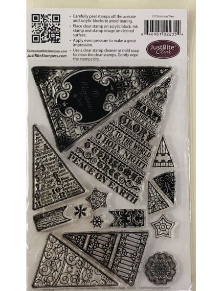 """JustRite Papercraft Clear Stamps 4""""X6"""", O Christmas Tree"""