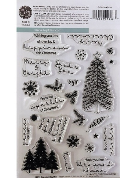 """Joy Clair Clear Stamps 4""""X6"""", Christmas Wishes"""