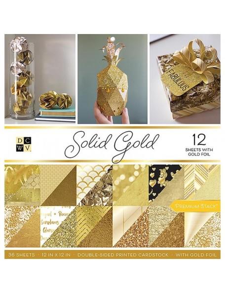 """DCWV Cardstock Stack de doble cara 12""""X12"""" 36, Solid Gold, 18 diseños/2 de cada"""