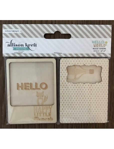 "webster pages Hello World tags de madera/ Wood Veneer Cards 3""X4"" 4pzas"