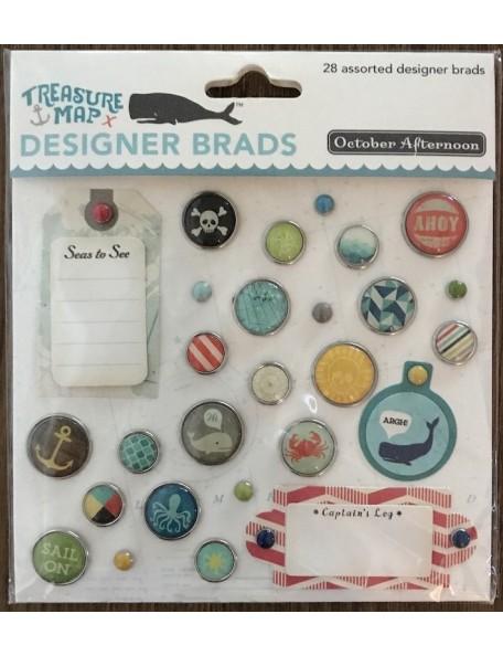 october afternoon Treasure Map Designer Brads 28 pzas
