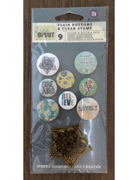 "prima marketing Free Spirit Flair botones/Buttons With 2""X2"", sello/Clear Stamp, (4) .75"" y (4) 1"""