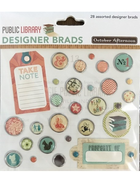 october afternoon Public Library Designer Brads 28 pzas, Assorted