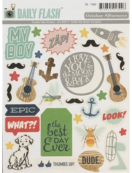 october afternoon Daily Flash All Boy Double Take pegatinas/Stickers, Shapes & Labels