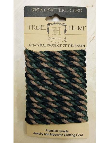 Hemptique Rope 6mm 6.56', cuerda colores tierra/Camouflage