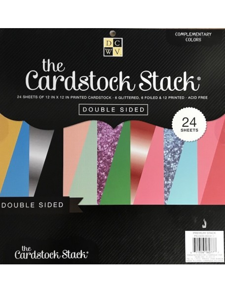 "DCWV - Cardstock Stack de doble cara 12""X12"" 24 Hojas Complementary Colors, 6 Glitter, 6 Foiled 12 Cardstock"