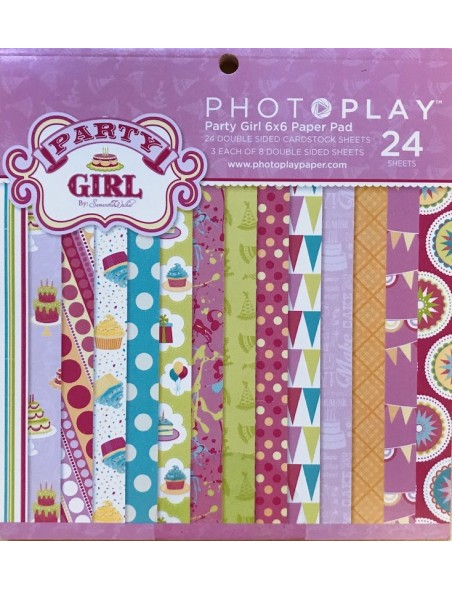 "Photo Play Paper Pad cardstock de doble cara 6""X6"" 24, Party Girl, 8 diseños/3 de cada"