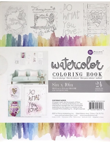 "Prima Marketing Watercolor Coloring Book (24) 8""X10"" Frameable Pages"