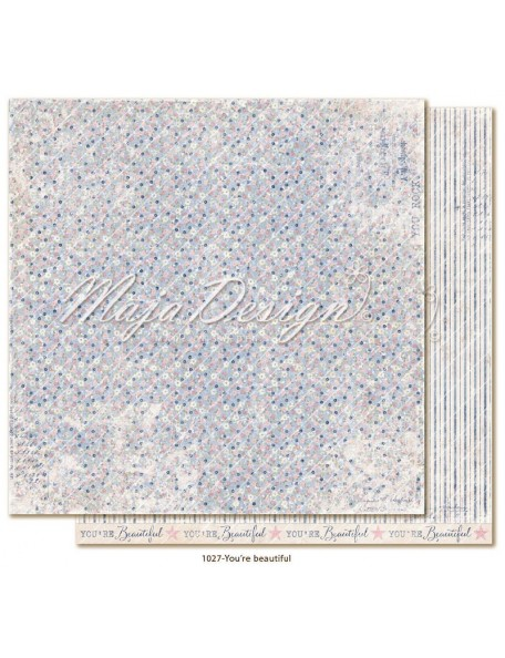 "maja design Denim & Girls Cardstock de doble cara 12""x12"", You´re Beautiful"