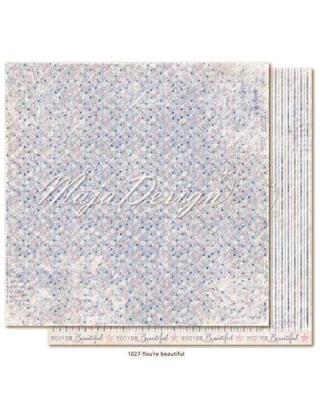 "maja design Denim & Girls Cardstock de doble cara 12""x12"", You're Beautiful"