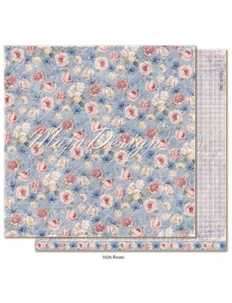 "maja design Denim & Girls Cardstock de doble cara 12""x12"", roses"