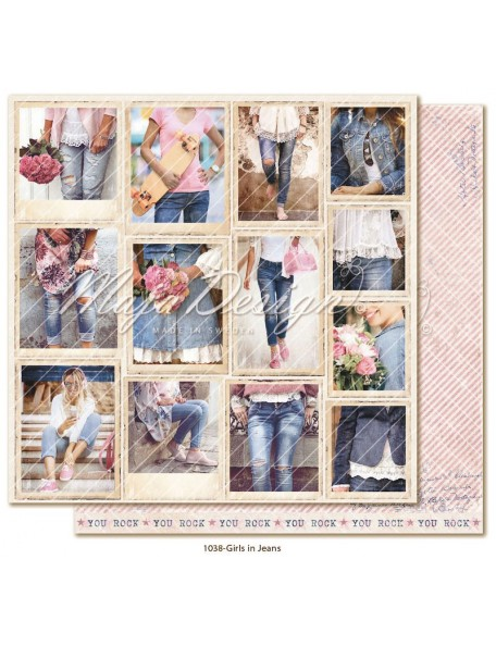 "maja design Denim & Girls Cardstock de doble cara 12""x12"", girls in jeans"