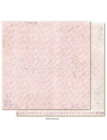 "maja design Denim & Girls Cardstock de doble cara 12""x12"", pink linen"