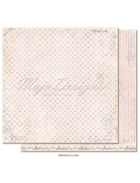 "maja design Denim & Girls Cardstock de doble cara 12""x12"", you're a star"