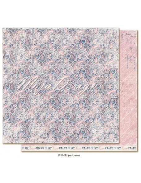 """maja design Denim & Girls Cardstock de doble cara 12""""x12"""", ripped jeans"""