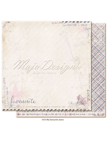 "maja design Denim & Girls Cardstock de doble cara 12""x12"", favourite jeans"