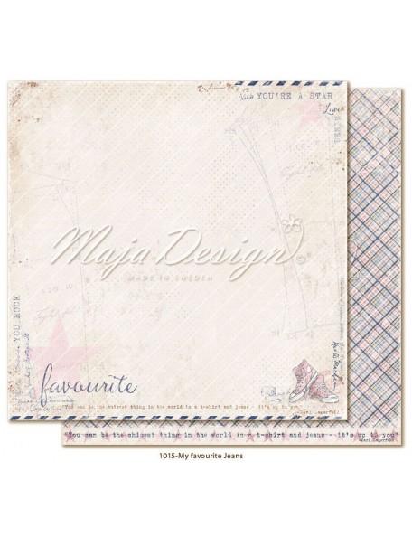 "maja design Denim & Girls Cardstock de doble cara 12""x12"", favourite jeans"