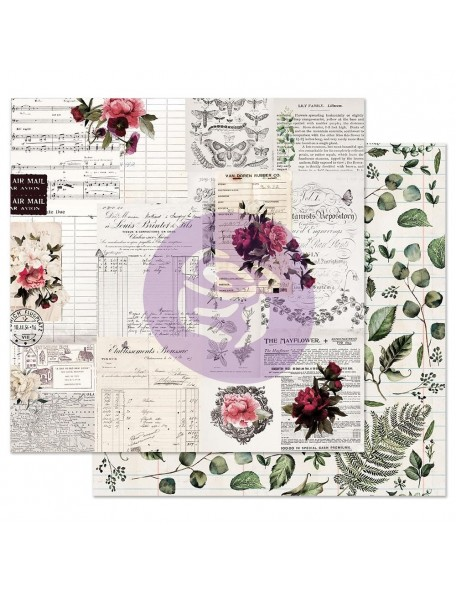 Prima Marketing Midnight Garden Cardstock de doble cara 12X12, Rose Receipts