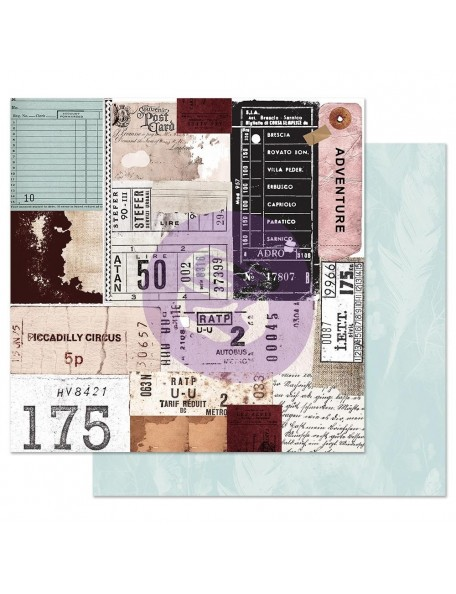Prima Marketing Midnight Garden Cardstock de doble cara 12X12, Traveling Tickets