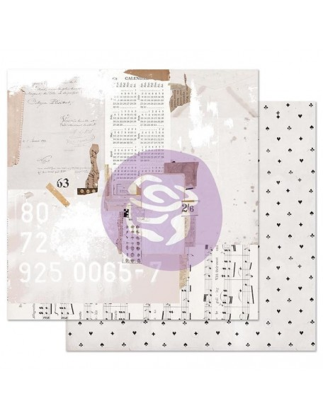 Prima Marketing Pretty Pale con Foil Cardstock de doble cara 12X12, Recounting The Days