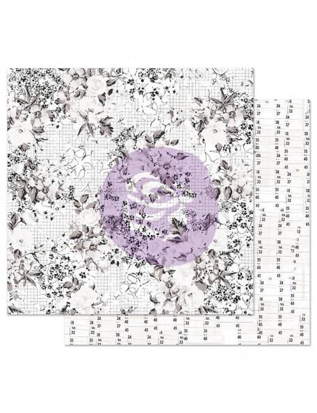 Prima Marketing Pretty Pale con Foil Cardstock de doble cara 12X12, Colorless