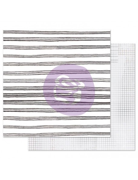 Prima Marketing Pretty Pale con Foil Cardstock de doble cara 12X12, Blurred Lines
