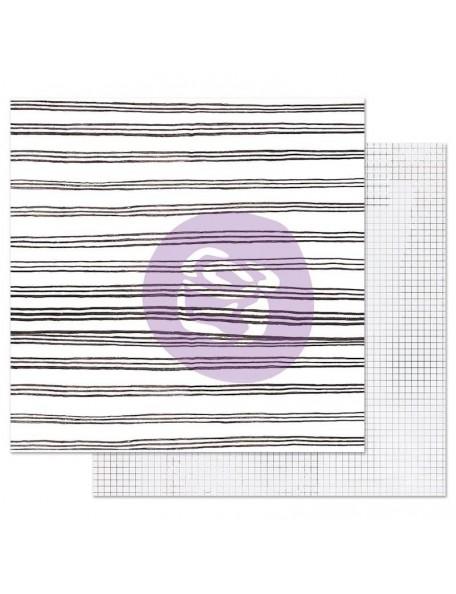 Prima Marketing Pretty Pale con Foil Cardstock de doble cara 12X12, Blurred Lines