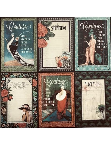"""Graphic 45 Couture Cardstock de doble cara 12""""X12"""", Elegant"""