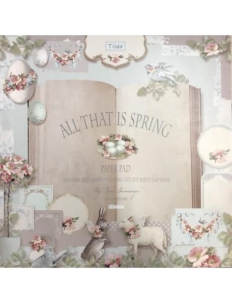 "Tilda All that is Spring Paper Pad doble cara 12""x12"", 8 diseños/3 de cada"