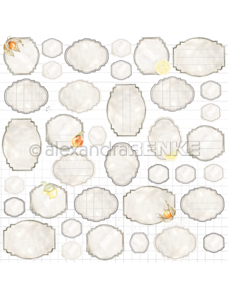 Alexandra Renke Cardstock una cara 30,5x30,5 cm, Etiquetas de Mermelada/Marmeladen-Etiketten
