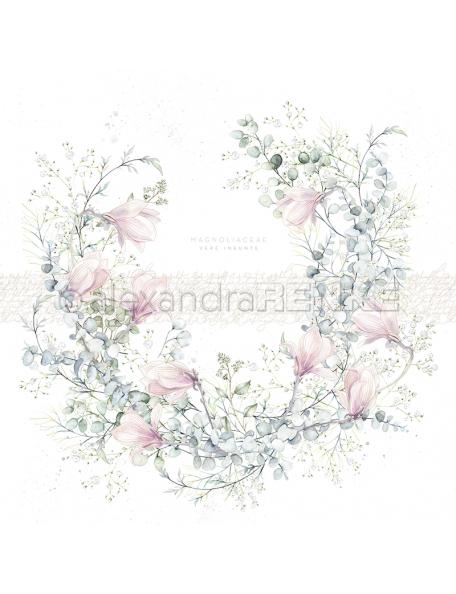Alexandra Renke Cardstock una cara 30,5x30,5 cm, Corona de Magnolia/Kranz mit Magnolien